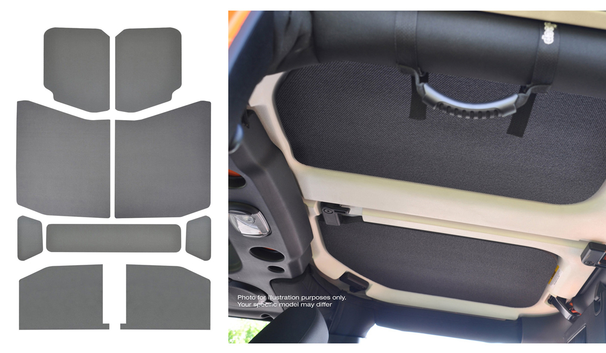 Sound Deadening Headliner 2018-Up Wrangler JL 4-Door Gray Leather Look - 050171