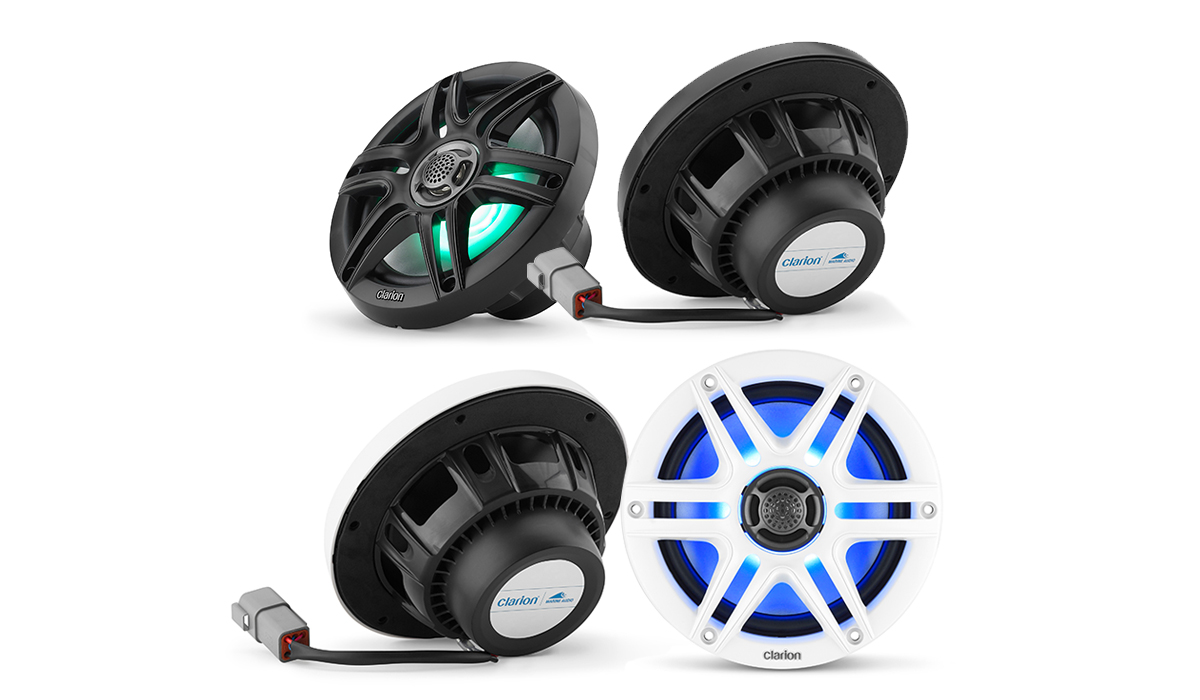 Clarion CMS-651RGB-SWB 6.5 inch Marine Coaxial Speakers with 0.50 inch (13 mm) Polymer Balanced-Dome Tweeters, White & Black Sport Grilles, built-in RGB LED lighting, 30W RMS, 4 ohms