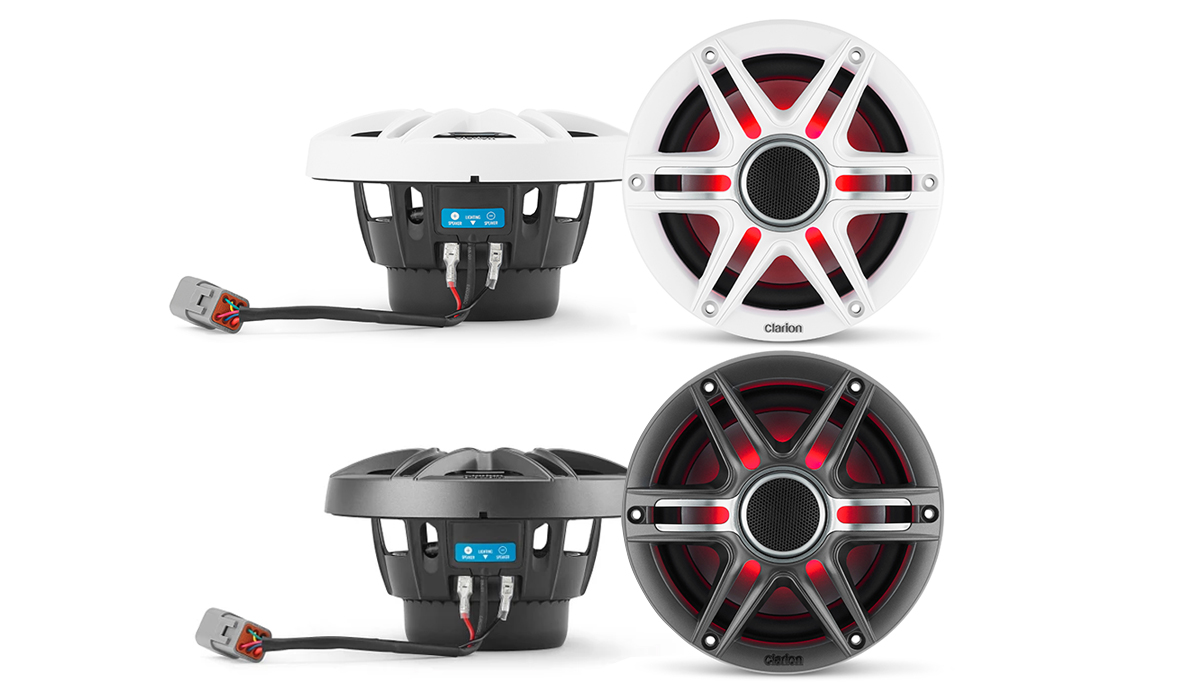 Clarion CMSP-651RGB-SWG 6.5 inch Premium Marine Coaxial Speakers with RGB Lighting