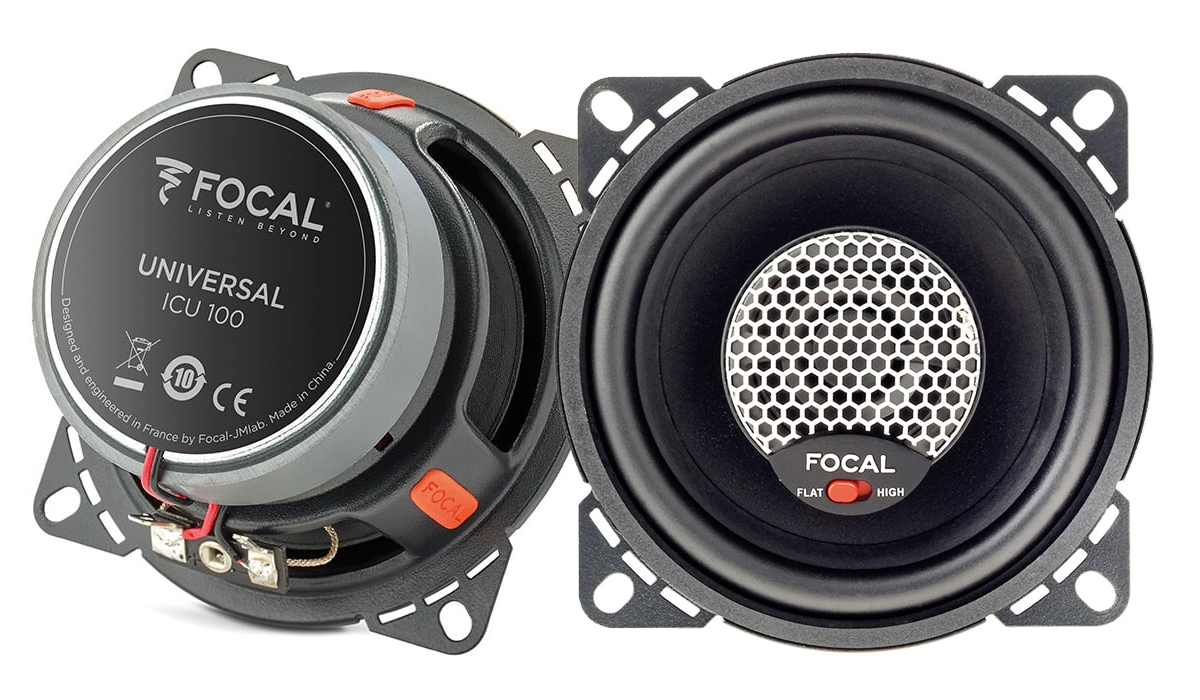 Focal ICU 100 Universal Integration 4 inch 80 Watts Max Power 2-Way Coaxial Speakers 4-ohm Impedance