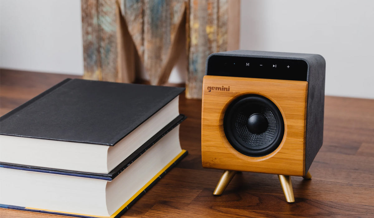 Gemini BRS-130 Handcrafted Portable Bluetooth Speaker w/ High Efficiency Full-Range Driver, Passive Radiator for Extra Bass