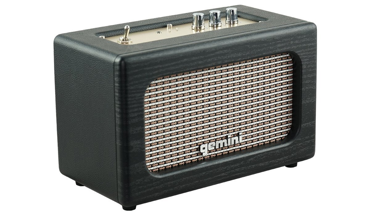 Gemini GTR-100 Portable Bluetooth Speaker with Master Volume control, Treble and Bass controls and Auxiliary 3.5mm input (Adapter included)