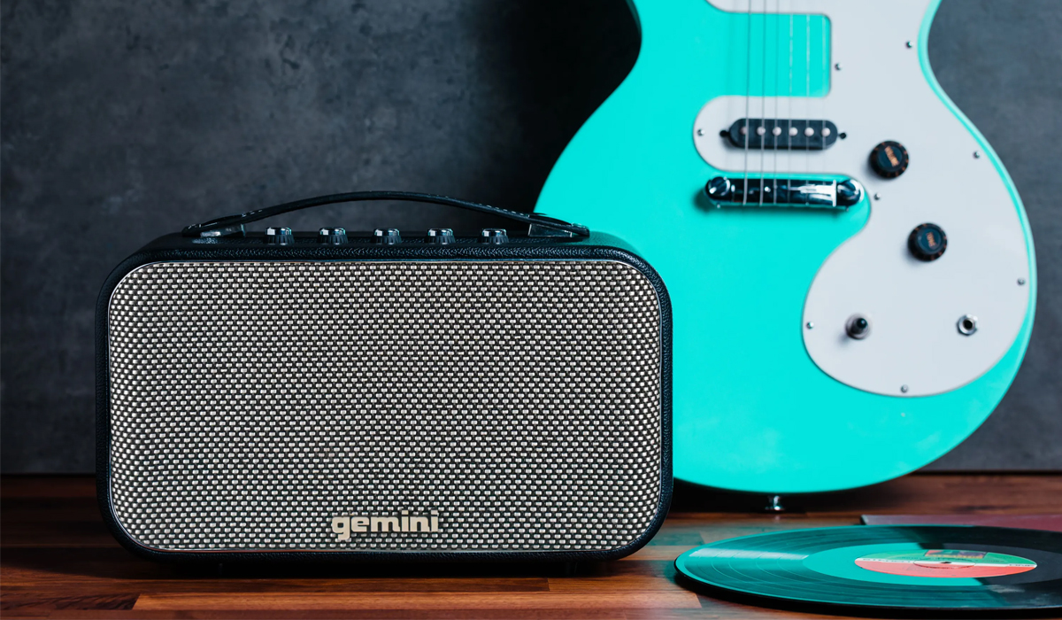 Gemini GTR-300 Portable Bluetooth Speaker with Guitar/Mic input with separate volume control, Auxiliary 3.5mm input