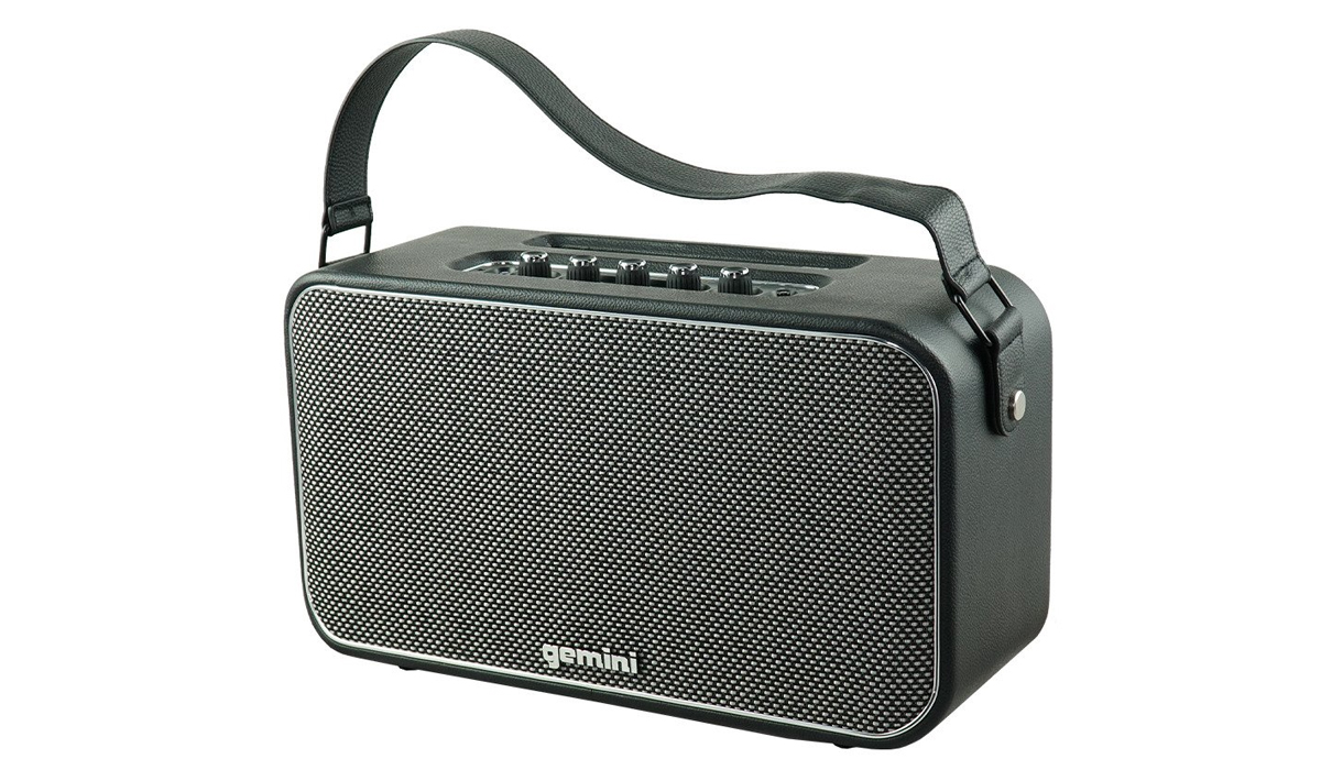 Gemini GTR-400 Portable Bluetooth Speaker with Guitar/Mic input with separate volume control, Auxiliary 3.5mm input, Rechargeable Lithium Battery
