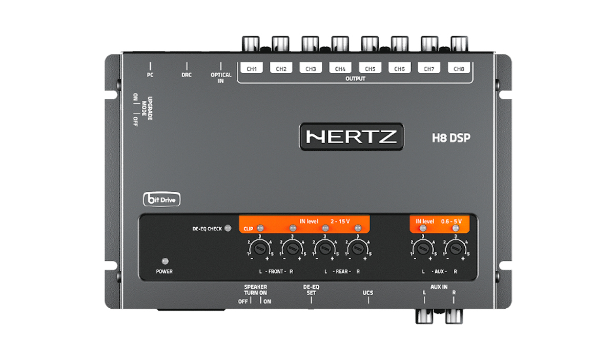Hertz H8 DSP DRC Car Audio Processor with 8 PRE OUT Analog Outputs, 31-Band Equalizer Per Output, Includes DRC HE Controller