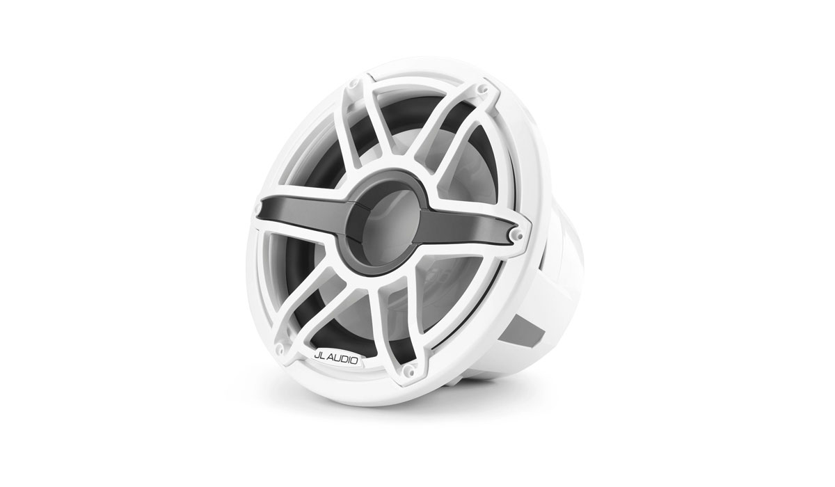 JL Audio M7-12IB-S-GwGw-4 12 inch Marine Subwoofer Driver, Gloss White Trim Ring, Gloss White Sport Grille, 4 Ω