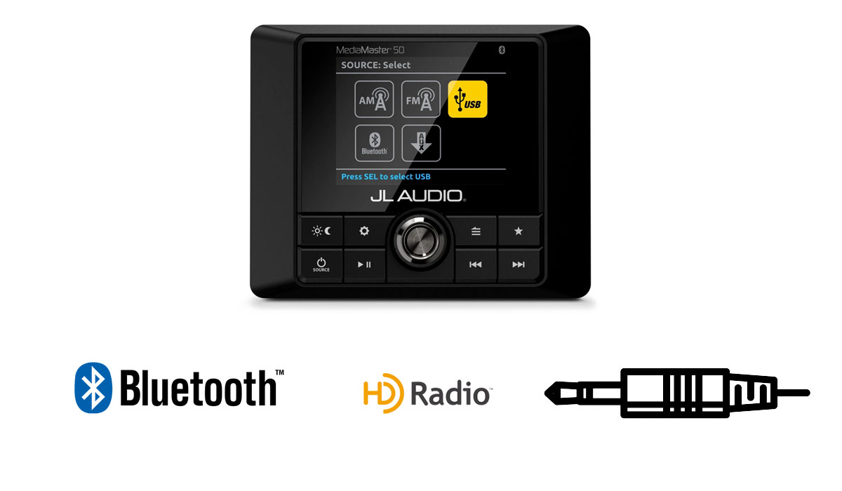 JL Audio MM50 Weatherproof Source Unit with Full-Color LCD Display - 25 Watts x 4 @ 4  ohms