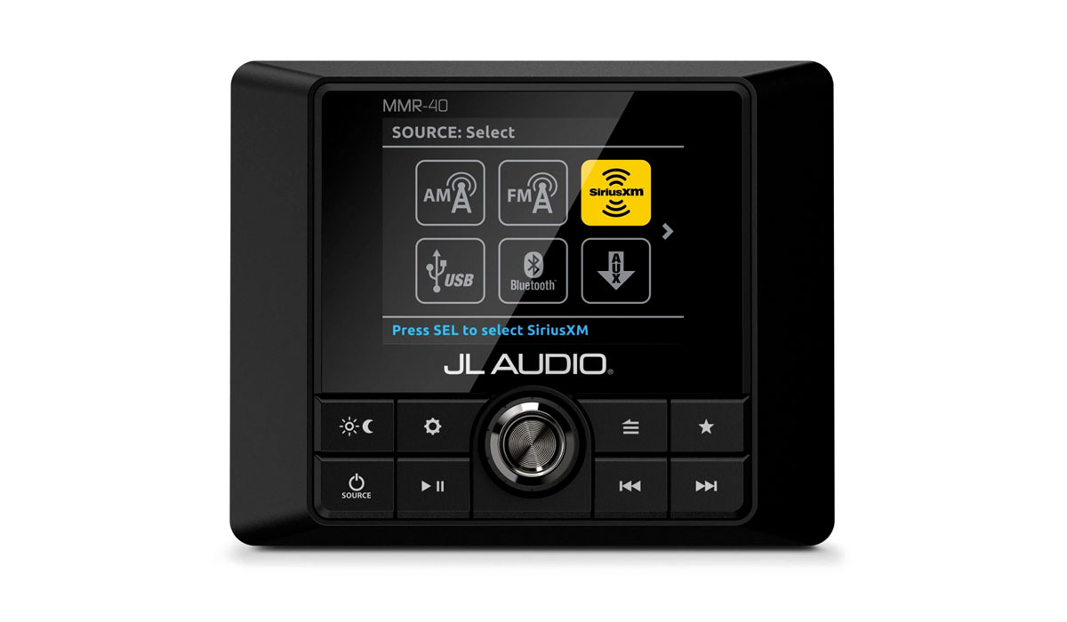 JL Audio MMR-40 Weatherproof Source Unit with Full-Color LCD Display - 25 Watts x 4 @ 4  ohms