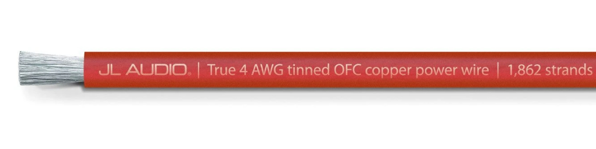 JL Audio XD-RPW4-100 100 ft Spool of Translucent Red Power Wire 4 AWG