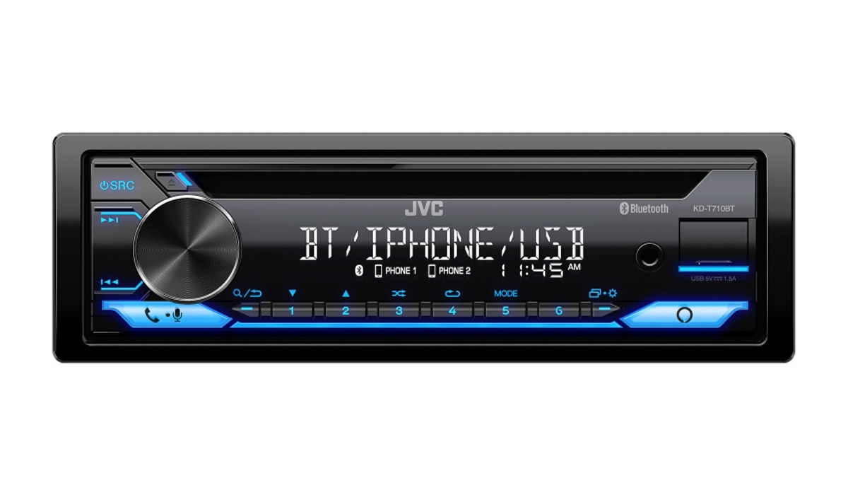 KD-T710BT CD Receiver featuring Bluetooth, USB, Amazon Alexa, 13-Band EQ, JVC Remote App Compatibility