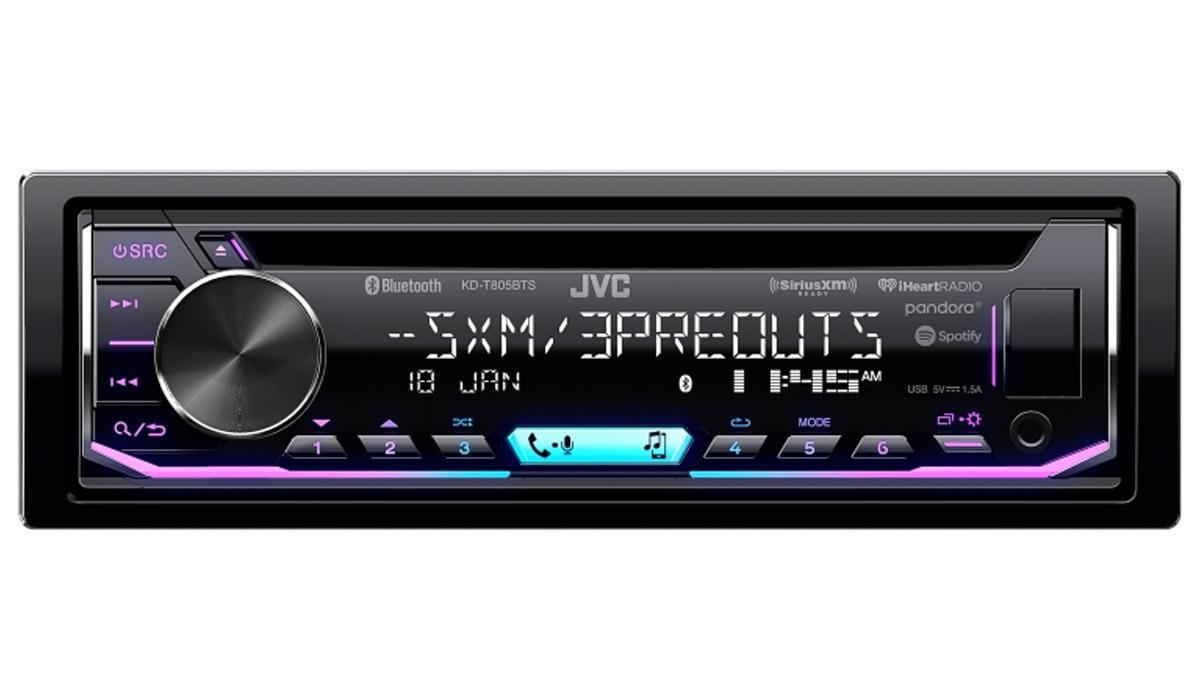 KD-T805BTS Single DIN In-Dash Bluetooth CD Receiver featuring USB, SiriusXM, Pandora, iHeartRadio, Spotify, 13-Band EQ, JVC Remote App Compatibility