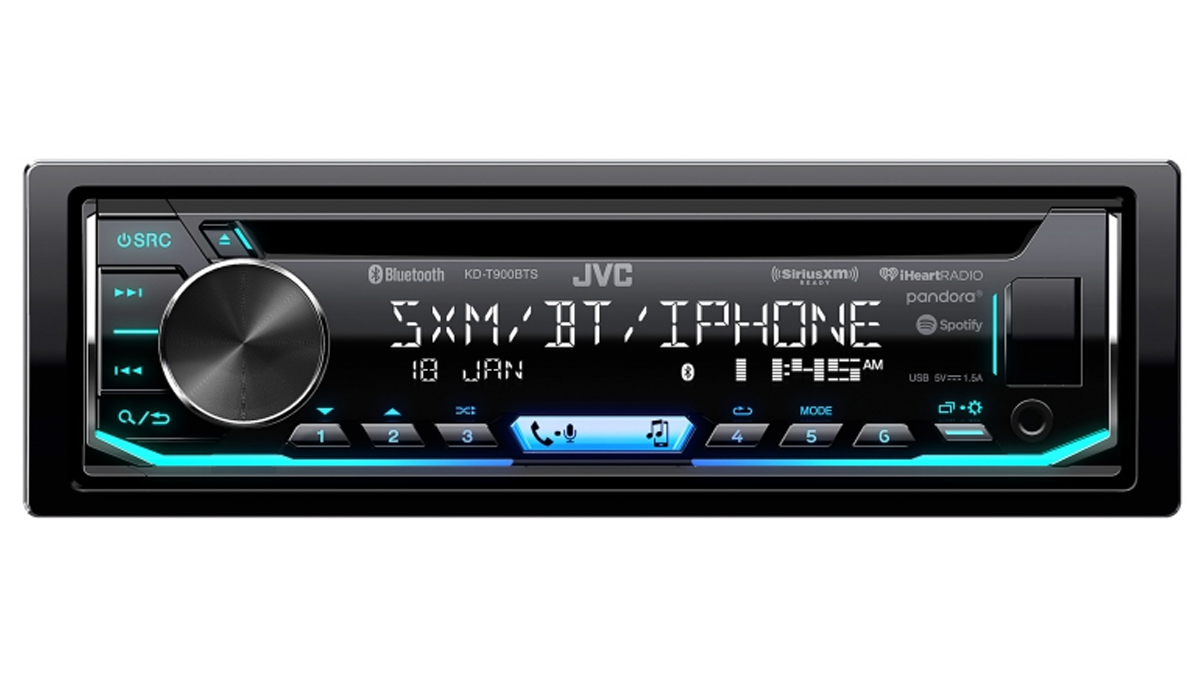KD-T900BTS Single DIN In-Dash Bluetooth CD Receiver featuring USB, SiriusXM, Pandora, iHeartRadio, Spotify, 13-Band EQ, JVC Remote App Compatibility