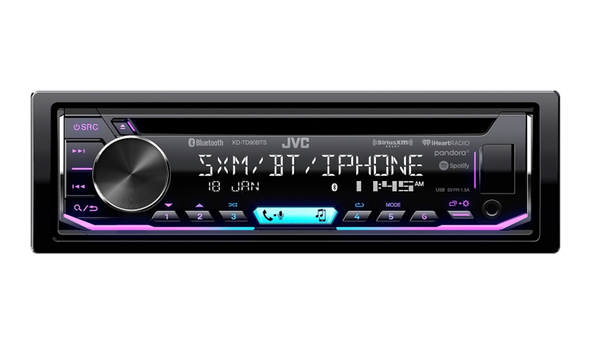 KD-TD90BTS Single DIN In-Dash Bluetooth CD Receiver featuring USB, SiriusXM, Pandora, iHeartRadio, Spotify, 13-Band EQ, JVC Remote App Compatibility