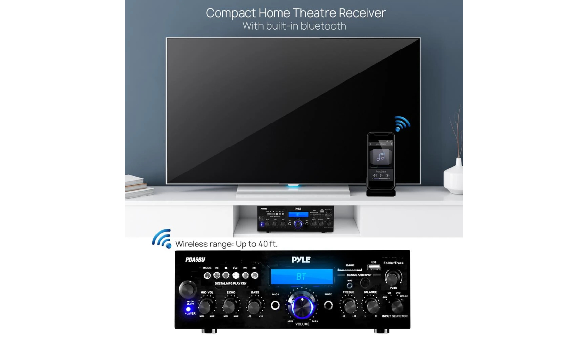 Pyle PDA6BU Bluetooth Home Stereo Amplifier Receiver